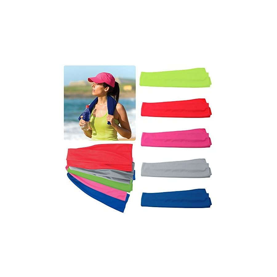 "Alcraft Very Kool Cooling Towel; Set of 5 included (Blue, Red, Green, Pink, Gray) 34""L x 12""H"