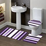 GorgeousHomeLinen (#7) PURPLE Striped Style 3pc Bathroom Set Bath Mat Contour and Toilet Lid Cover with Rubber Backing Rugs