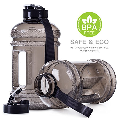 Moonice 2.2l Litre Big Capacity BPA Free Leakproof Plastic Half Gallon Gym Sports Water Bottle Large Training Drinking Water Jug Hydrate Container Lightweight with Easy Carry Strap and Flip up Cap