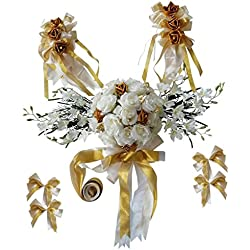 Fityle Wedding Car Decor Set Silk Flower Car Head Roof Mirror Door Handle Decor Colors - Gold, as described