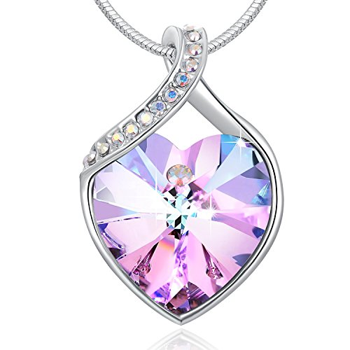 Swarovski Element Necklace Color Changing Crystal Eternal Love Pendant Necklace for Women, Birthday Birthstone Jewelry Gifts for Girl, Amethyst Purple Pink, (Love Amethyst Crystal)