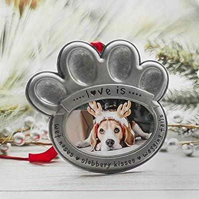 Pewter Pet Paw Photo Ornament