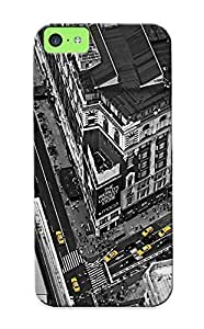 BoxgsIV3291RVRIR Tpu Case Skin Protector For Iphone 5c Cityscapes Architecture People Buildings Taxi Birds Eye Selective Coloring With Nice Appearance For Lovers Gifts