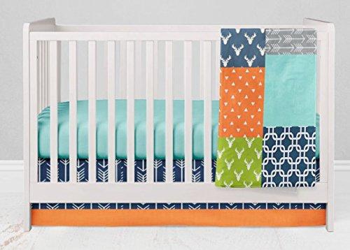 Crib Bedding Set - Bright Woodland - 3 Piece Crib Bedding Set Navy Blue, Orange, Gray, Aqua by Twig + Bird - Handmade in America