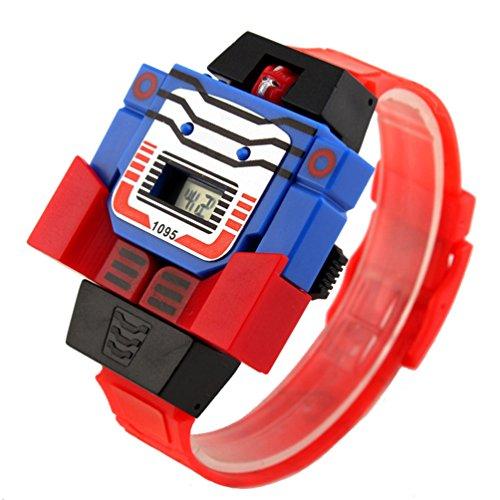 - VIGOROSO Boys Children Kids Digital Pu Watch Transformers Bumblebee Cartoon Wristwatch (Red Band)