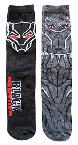 (Marvel Black Panther Full Character Pattern Men's Crew Socks 2 Pair Pack)