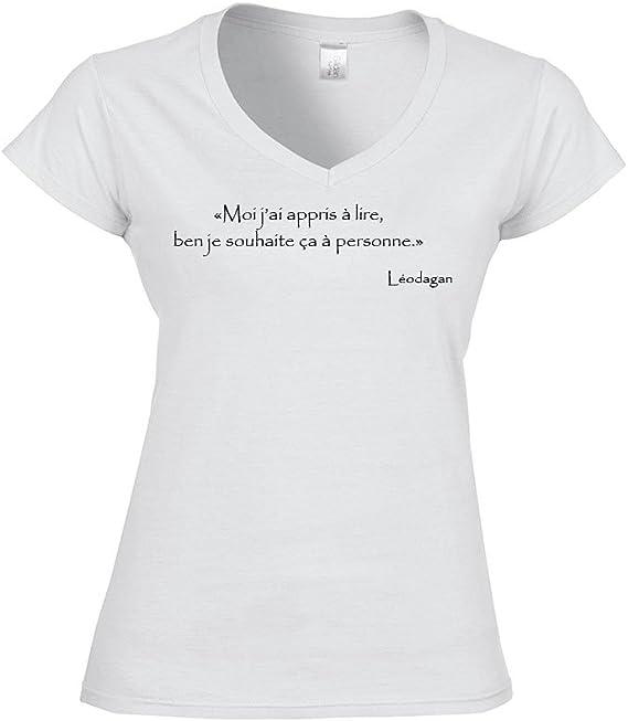 Mygoodprice T Shirt Femme Col V Citation Kaamelott Leodagan