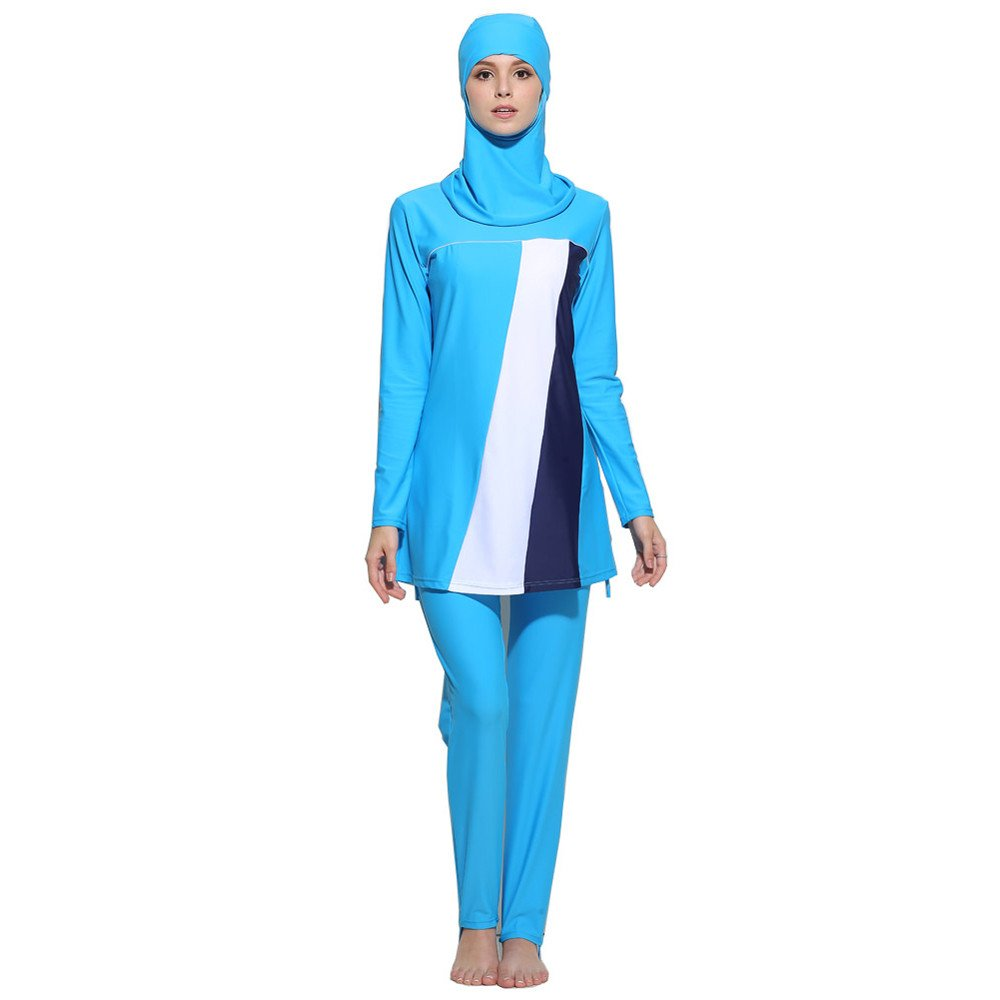 Muslim Women Modest Swimwear Islamic Short Sleeve Top+Pants Swimsuit Muslim Fashion Casual Patchwork Color Block Swimwear (XXXX-Large, Blue) by PaJau