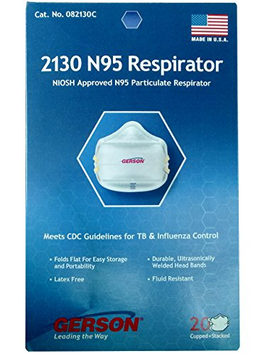 - Gerson 2130 N95 Smart-mask Particle Respirator Mask - 20-Pack - Made in USA