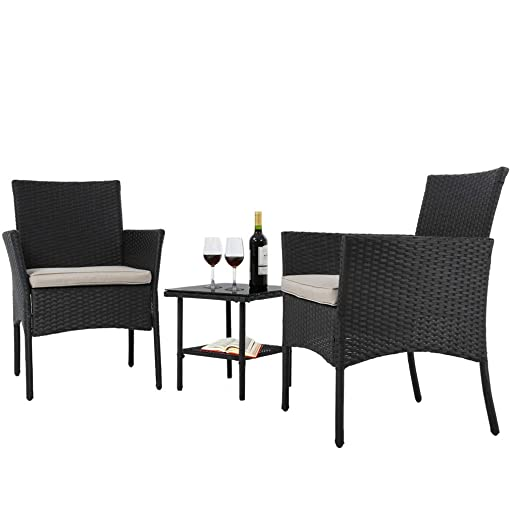 Wicker Patio Furniture 3 Piece Patio Set Chairs Wicker Outdoor Rattan Conversation Sets Bistro Set Coffee Table