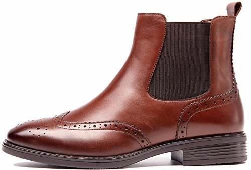 Brown Fuax Wing Booties Lining Chelsea Brogue Comfortable Fall With Ankle Boots tip Winter Womens Women U lite Leather Fur nwUIO4aa6