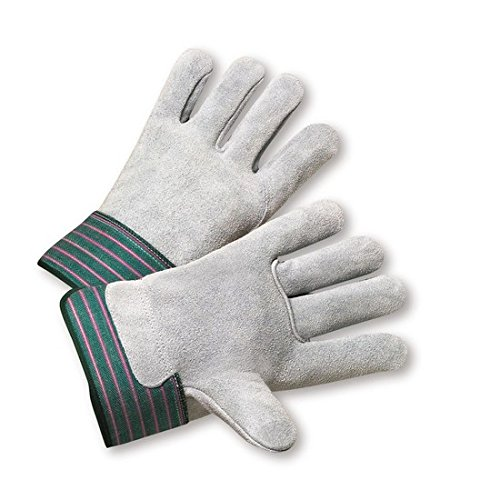 West Chester 600-EA Green/Pink Large Split Cowhide Leather Work Gloves - Wing Thumb - 10.25 in Length [PRICE is per DOZEN] by West Chester