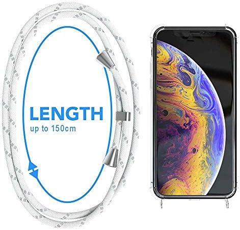 YuhooTech Funda con Cuerda para iPhone X//iPhone XS, Anti-Choque Suave Silicona Transparente TPU Carcasa de movil con Colgante//Cadena,Violeta Claro Moda y Practico Anti-rasgu/ños
