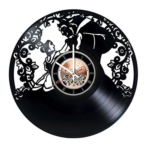Beauty and The Beast Love Vinyl Record Wall Clock - Kids Room wall decor - Gift ideas for children, teens, sster -Fantasy Story Unique Art Design (Beauty And The Beast An Enchanted Christmas Vhs)
