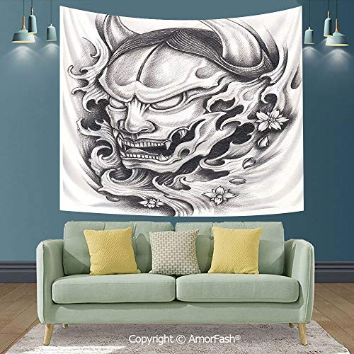 AmorFash Kabuki Mask Decoration Magical Thinking Tapestry Wall Art Wall Decoration for Dinning Room College Room,60