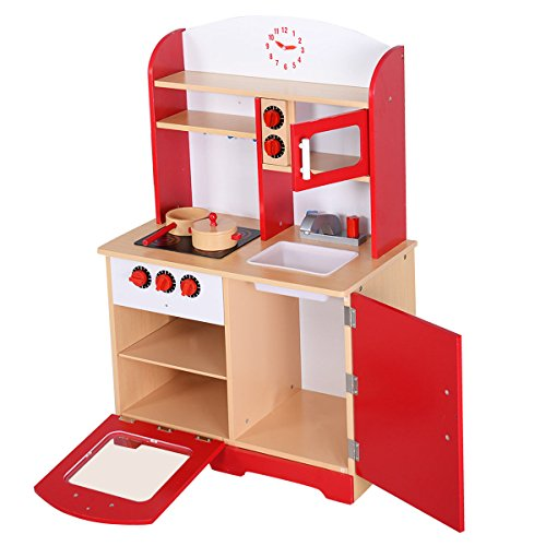 Giantex wood kitchen toy kids cooking pretend play set for Kitchen set toy kingdom