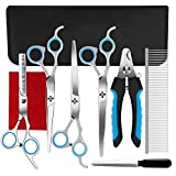 Ferbon 9 Pcs Dog Grooming Scissors Kits, 8 inches Pet Stainless Steel Curved, Straight, Thinning Shear Suit, Trimmer Kit with Dog Nail File, Clippers, Grooming Comb for Cat and Pet