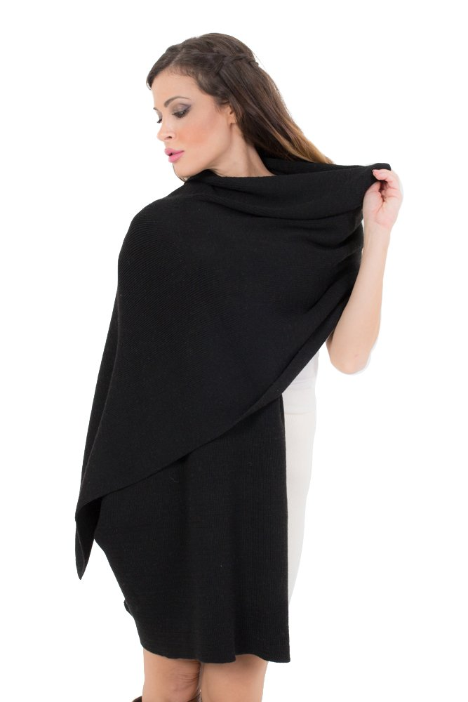 KROWN Cashmere Shawls for Women, Super Soft Lambs Wool Pashmina Shawl for Cold Weather, Extra Large Knitted Cashmere Wraps for Winter, Black by KROWN CASHMERE