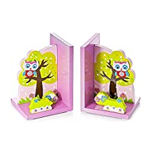 Mousehouse Gifts 3D Wooden Pink Owl Bookends For Kids Room