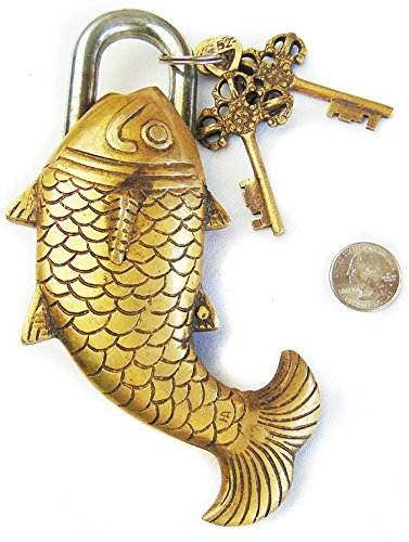Solid Brass Natural (Large Fish Fish Monastery Lock - Solid Brass with Natural Patina in a Beautifully Ornate Padlock. Ornamental Antique Handcrafted Locks for Security and Style)