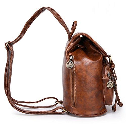 Tibes Rucksäcke für damen Wasserdichter rucksack Schulranzen Satchel bag Studententasche Daypack damen Schultertasche Umhängetasche Tasche Groß Braun Schwarz
