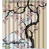 Top design Beautiful Cherry Blossom Tree,Japan Cherry Blossom art Shower Curtain 66(w) x 72(h) Generic Shower Curtain Liners by Cherry Blossom Shower Curtain