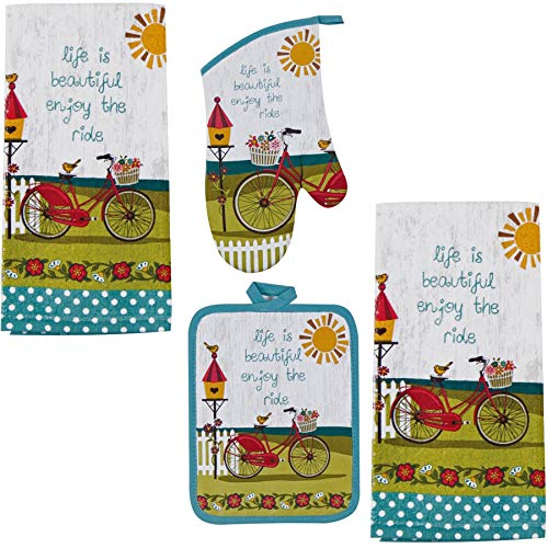 Kay Dee 4 Piece Kitchen Set - 2 Terry Towels, Oven Mitt, Potholder (Enjoy the - Birdhouses Design