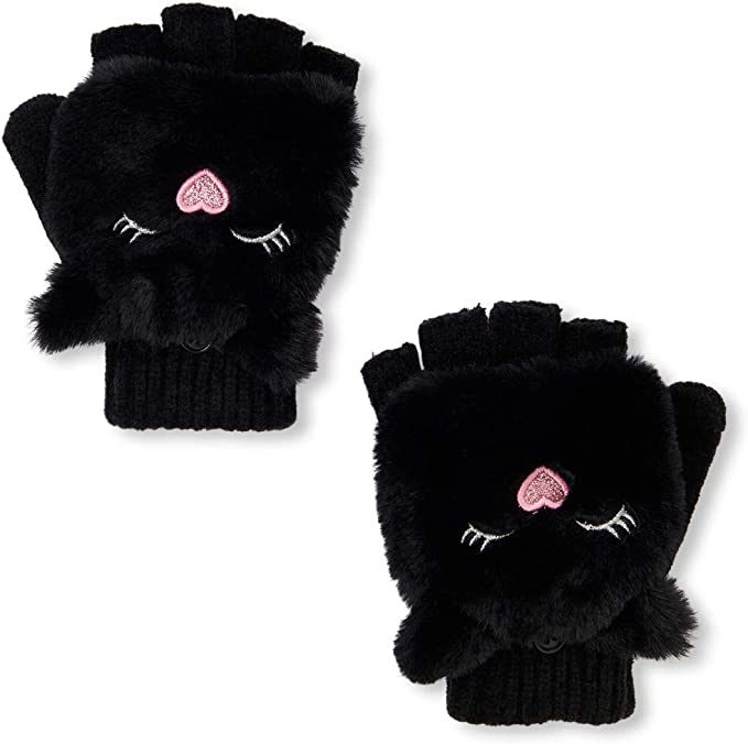 The Childrens Place Big Girls Fur Critter Glitter Glove