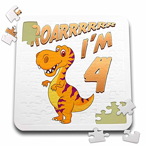 Carsten Reisinger - Illustrations - Birthday Dinosaur Roarrrrrr I am 4 Years Old Congratulations Party - 10x10 Inch Puzzle (pzl_261526_2) by 3dRose