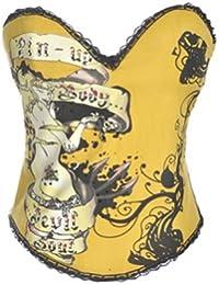 Women Gold Fashion Boned Corset Bustier Lingerie Top Halloween Costume