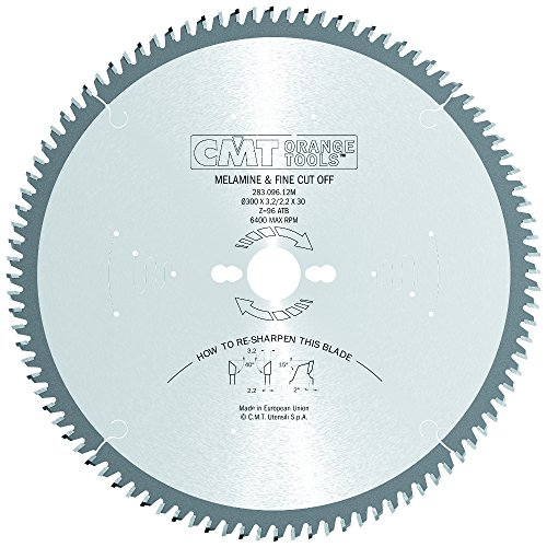CMT 283.096.12M Industrial Melamine and Fine Cut-Off Saw Blade and  300mm 11-13/16-Inch by 96 Teeth 40-Degree ATB with 30mm Bore