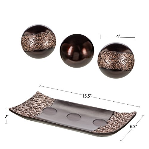 Dublin Home Decor Tray and Orbs Balls Set of 3 - Coffee Table Mantle Decor Centerpiece Bowl with Spheres House… 3