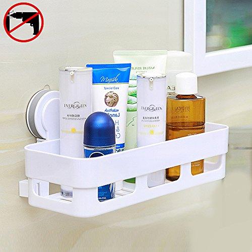 HOOMTAOOK Super Power Vacuum Suction Bathroom Shelf No Drill Storage Rack Removable Reusable Kitchen Sink Sponge Storage Organizer Holder Basket