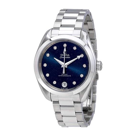 Omega Seamaster azul diammond Dial Automático Damas Reloj 220.10.34.20.53.001