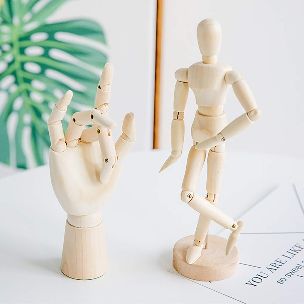 7//8//10//12// inch Left/&Right Wooden Hand Artists Manikins Wood Sculpture Sketch Manikin Wooden Body Articulated Home Decoration Crafts Figurines /& Miniatures 8 inch Hand-Left