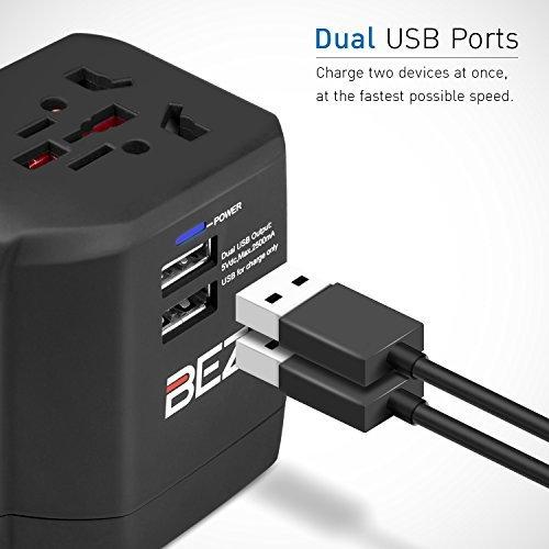 International Chargeur Mural Puissance nominale des deux ports USB : 5V//2500mA Adaptateur Prise Anglaise BEZ/® Adapteur Secteur Universel de Voyage UK USA AU EU avec Double Chargeur USB Ports,