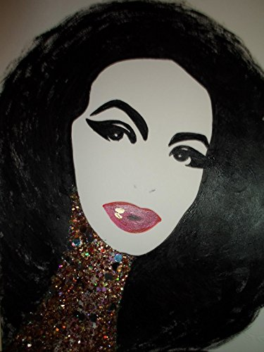 MARIA FELIX : MEXICAN GLAMOROUS DIVA! - Abstract - POP - MEXICAN FOLK ART Style :: ORIGINAL PAINTING - Acrylics and Ink - Modern Painting on Heavy White Paper - SIZE:11''x8.5'' - Signed by the Artist by Santos Arellano - Art & Crafts