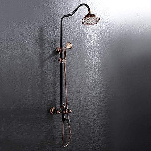 ZJN-JN 蛇口 ヨーロッパのブラックブロンズアンティーク浴室のシャワーセットの銅ブースターハンドヘルドシャワーシステム3機能リフティングロッドと蛇口ラウンドトップ繊細なスプレー 台付