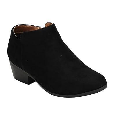 AE47 Women's Side Zip Stacked Block Heel Ankle Booties