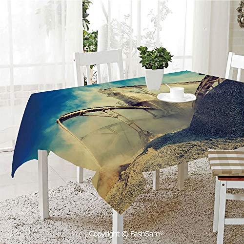 AmaUncle Party Decorations Tablecloth Rock Stone Crushing Machine Open Pit Mining Quarry Sand Dust Decorative Resistant Table Toppers (W60 xL84) -