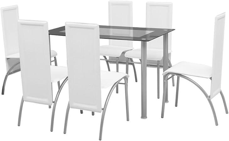 Festnight Set Sala da PranzoTavolo Cucina con sedie 7 Pezzi Bianco