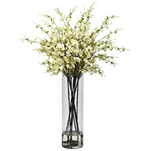 Nearly Natural 1316-WH Giant Cherry Blossom Arrangement, White 113