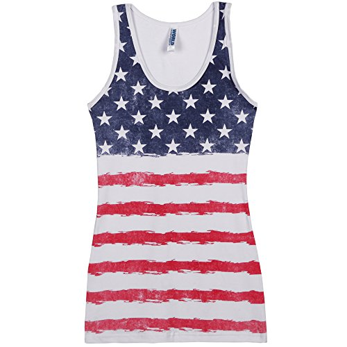 Distressed USA Stars and Stripes Womens Tank Top - White (Large)