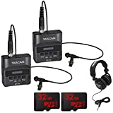 Tascam DR-10L Portable Digital Studio Recorder w/Lavaliere Microphone 2-Pack 64GB Audio Bundle