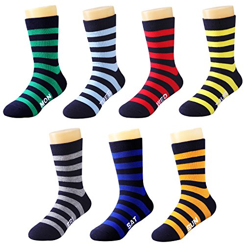 IMOZY Crew Socks for Boys- Days of the Week- Stripe Dress Socks- Boys' Novelty Socks with Gift Box- Size 1-4 for Big Kids- 7 Pair