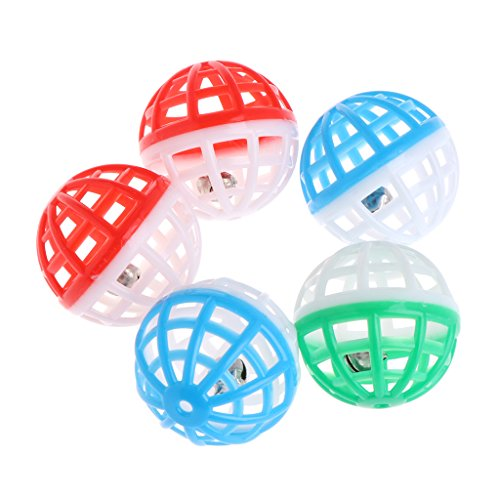 LifePavilion 5 Pcs Pet Cat Dog Toy Jingle Bell Ring Hollow Balls Plastic Round Roll Ball Rattle For Pet Game(Random Color)