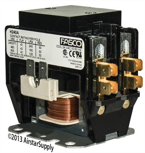 American Standard • 40 Amp 2 Pole 24v Coil Fasco Replacement Contactor H240A Amps 2 Pole 24 Coil
