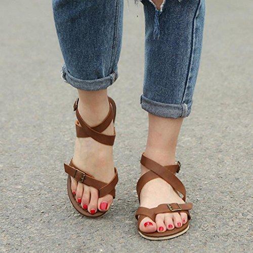 HLHN Women Sandals,Roman Ankle Cross Strap Buckle Flip Flops Flat Heel Open-Toe Shoes Casual Vintage Brown
