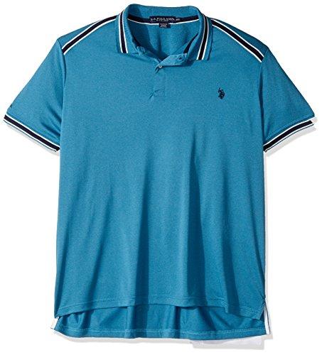 (U.S. Polo Assn. Men's Classic Fit Solid Short Sleeve Poly Pique Polo Shirt, 8354-Medium Blue Heather, XL)