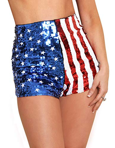 Arsimus USA Patriotic Star & Stripes Sequins Shorts, Red/White/Blue, Large
